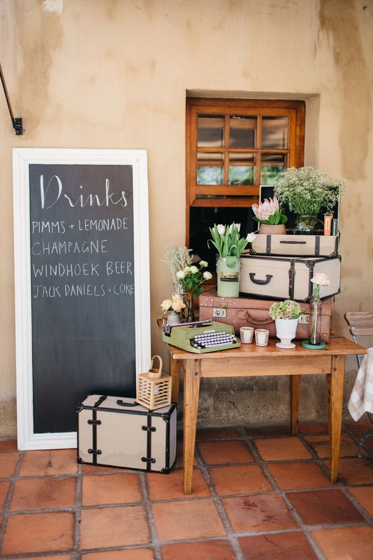 We love this décor: http://flyawaybride.com/an-irish-wedding-in-franschhoek-south-africa/ Photography: Kikitography / Florist: Leipzig Reception venue: La Petite Dauphine /