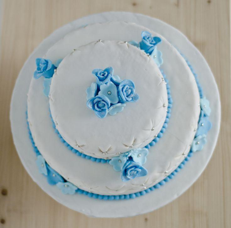Bruidstaart blauwe bloemen bovenkant