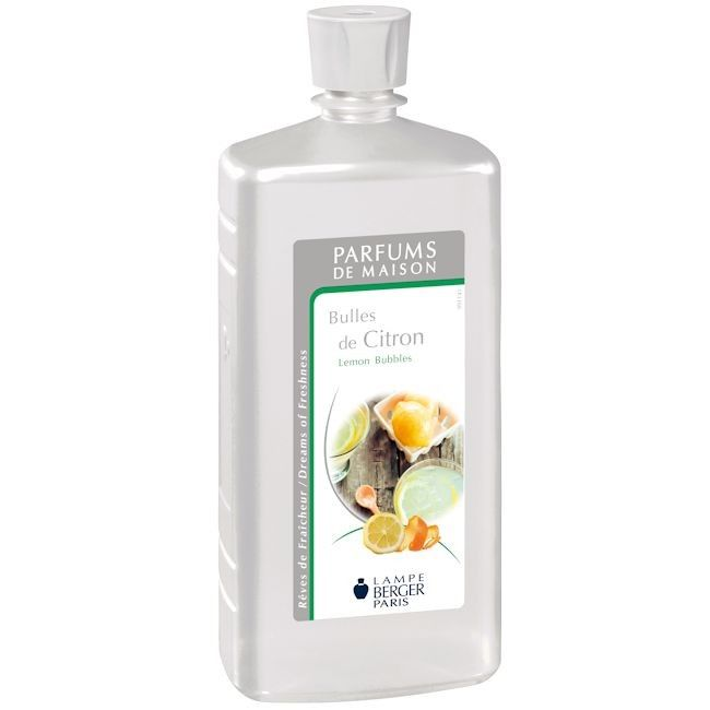 Lemon Bubbles 1Ltr Fragrance by Lampe Berger - Style of Life Home made lemonade, fresh zesty and sparkling - just like this fragrance - Lemon Bubbles, a lemony fragrance with a subtle floral heart.