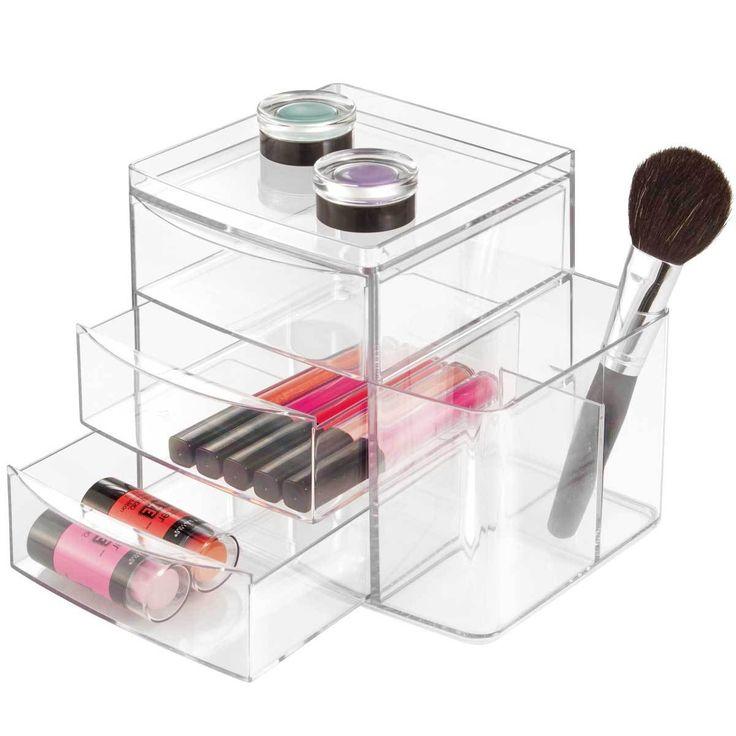 Boîte de rangement Vanity CLARITY - 3 Tiroirs / parfait pour le rangement et l'organisation du bureau ou du maquillage