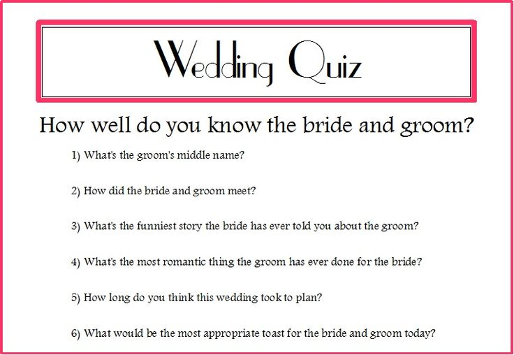 Wedding Quizzes For Guests - Google Search