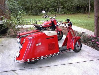 a 1947 Cushman motor scooter. One of the few American motor scooters ever made.