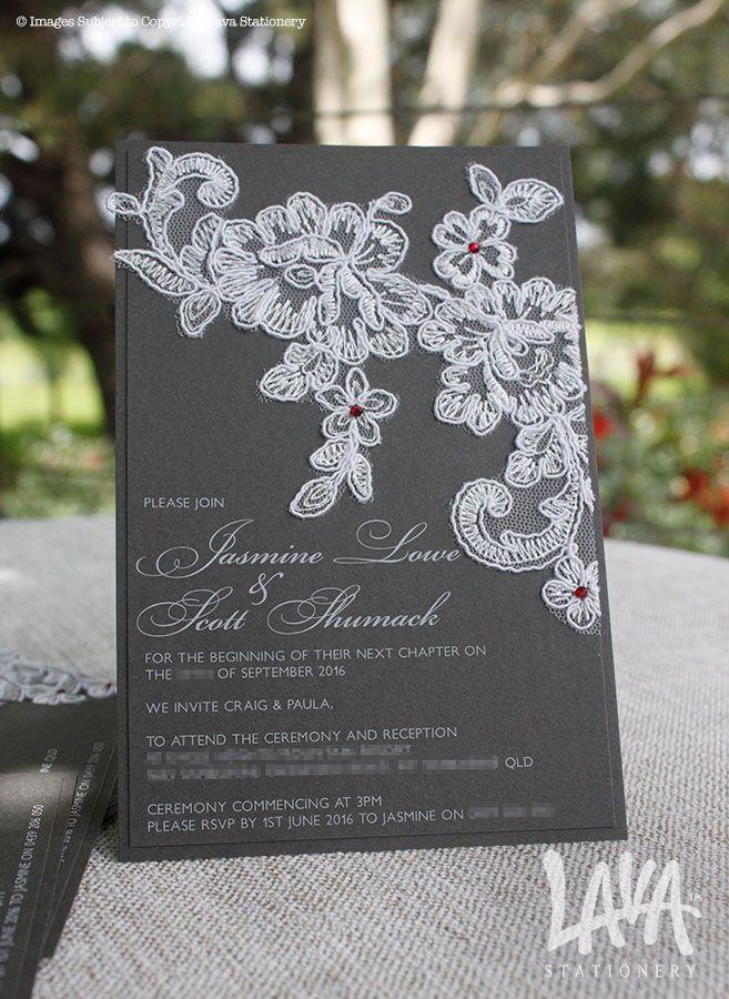 Darcy #whiteink invitation with #lace by www.lavastationery.com.au