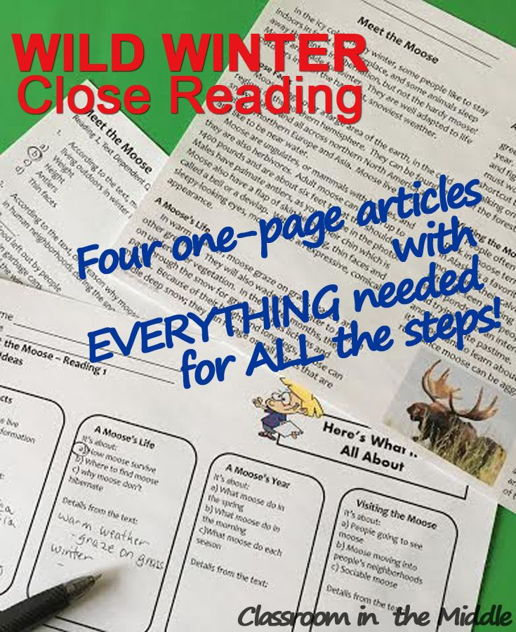 Wild Winter is a ready-to-use close reading packet that includes four original articles and everything needed for a full three readings. Click to see the topics and preview the activities.