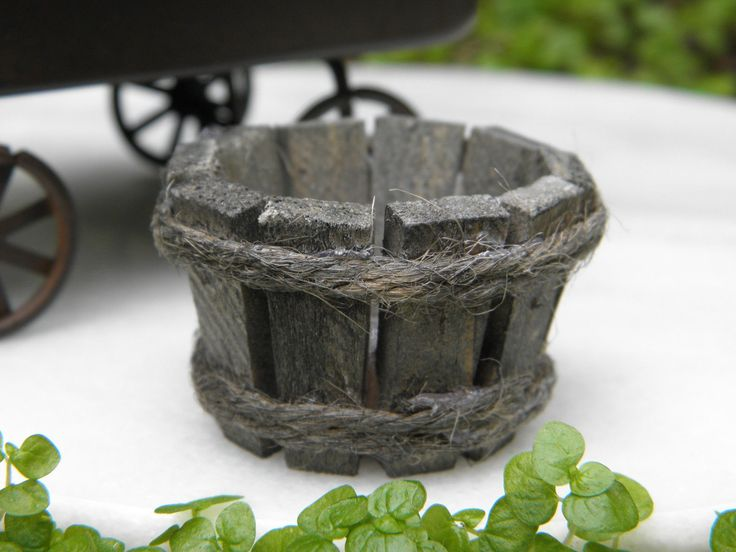 "Miniature Dollhouse Fairy Garden Accessories Rustic 1"" Wood Wooden Bucket"