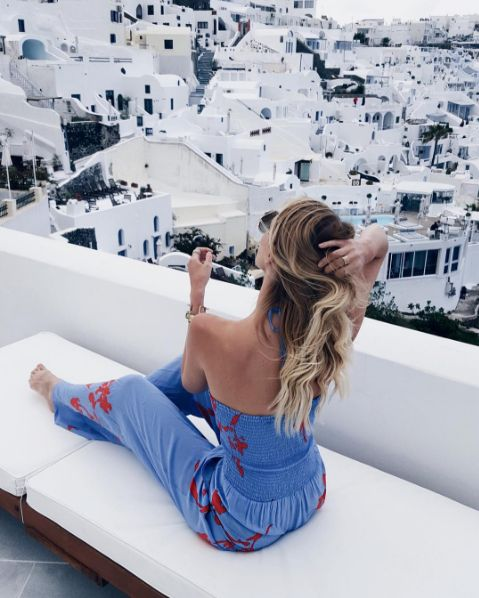 Blogger Leonie Hanne of ohhcouture looks great in the Tory Burch Talisay Jumpsuit while traveling in Santorini