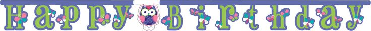 12 ct, Owl Pal Birthday Jointed Banner, Large, Happy Birthday (12/case)