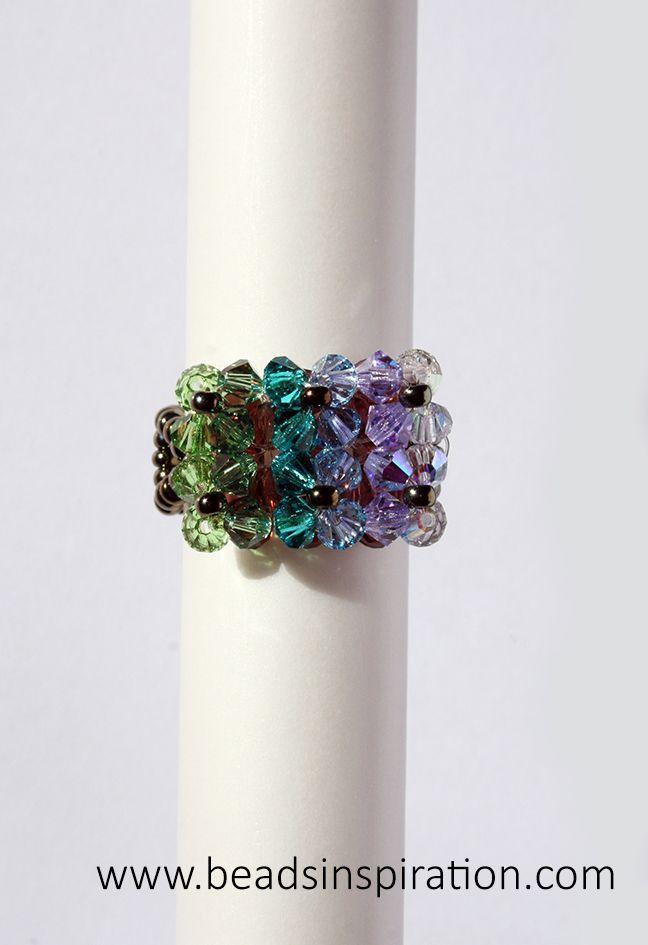 swarovski, beads, superduo, ring, anillo
