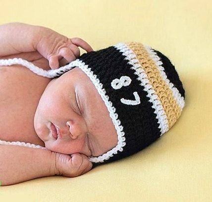 BABY BOY HOCKEY Pittsburgh Penguins pacifier not included, Crochet Hockey Baby, Black Gold Hockey, Baby Knit Hockey Hat, Newborn Hockey Boy by Grandmabilt on Etsy