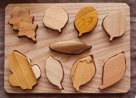 Hölzernes Blatt Puzzle / Montessori Spielzeug / von MamumaBird