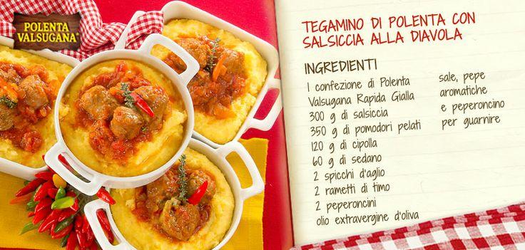La salsiccia più buona, accompagnata da un sugo rosso leggermente piccante in un tegamino con #Polentavalsugana.  Una classica delizia da servire in tavola!Scopri la ricetta: http://www.polentavalsugana.it/ricette/tegamino-di-polenta-valsugana-con-salsiccia-alla-diavola/