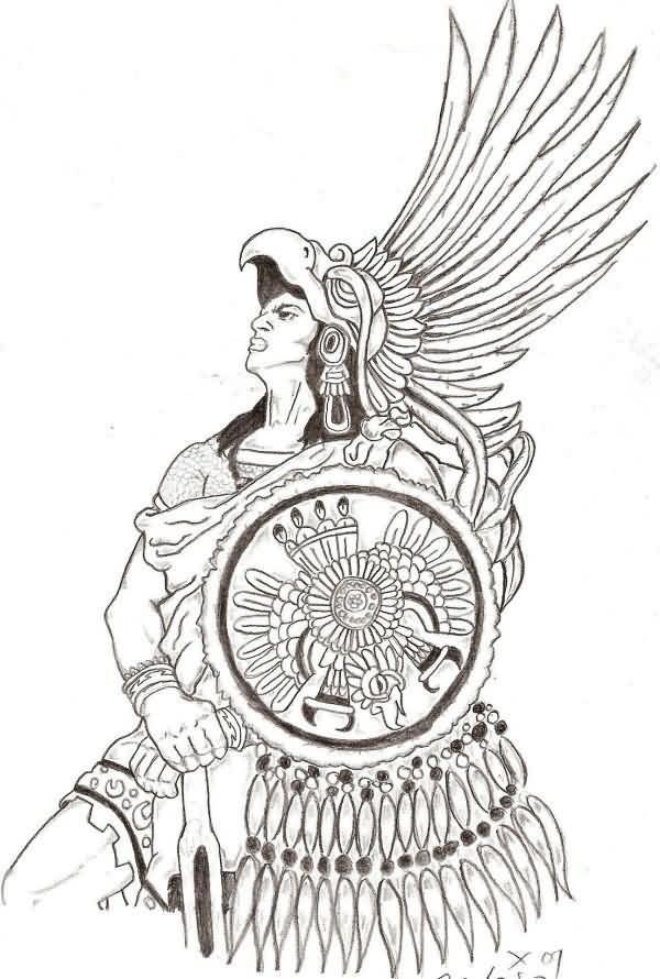 Aztec Warrior Stencil New Angel Warrior Tattoo Sample Tattooshunter Aztec Artwork Aztec Drawing Aztec Warrior Tattoo