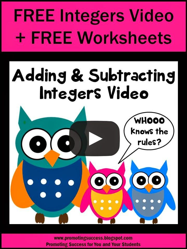 This integers adding and subtracting rules tutorial video may be used as a lesson in your 6th or 7th grade classroom.  It is appropriate for any age learning the addition and subtraction of integers.  Kids will learn integer addition and subtraction rules and will solve sample problems. Students may participate as they view the video as part of your lesson plan.  An answer key is at the end of the video.