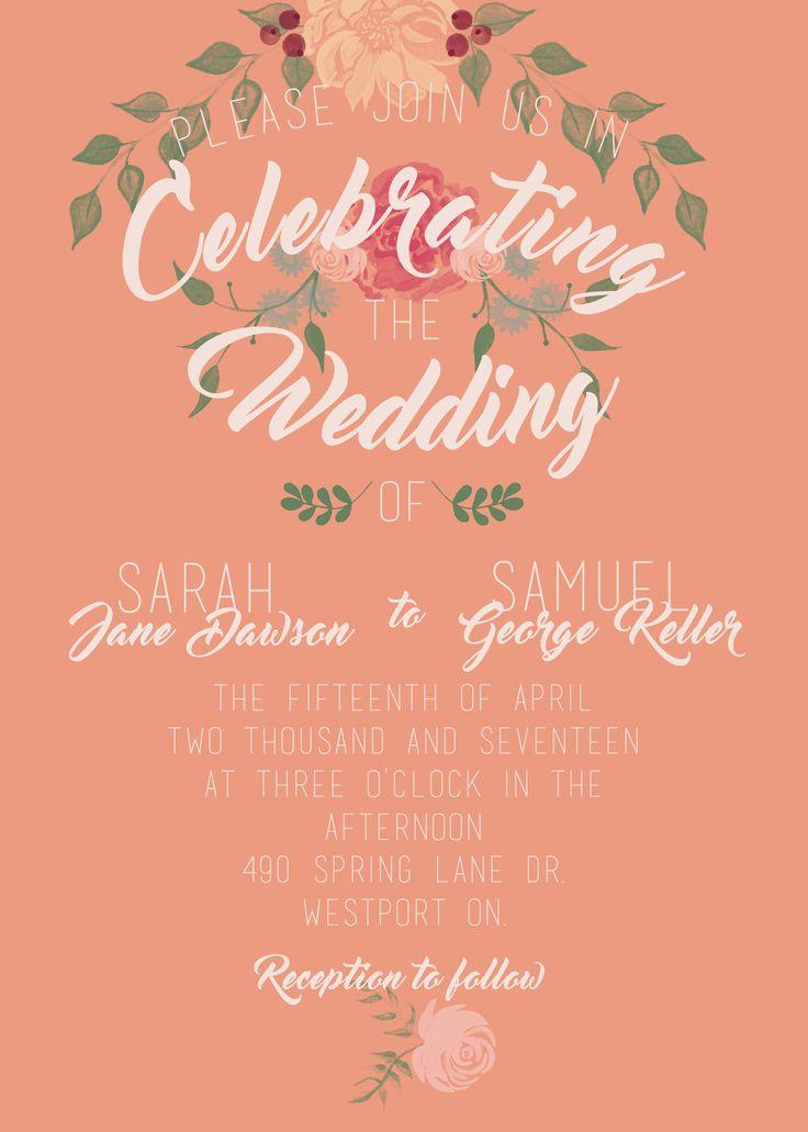 Peachy Keen Rustic Wedding Invitation