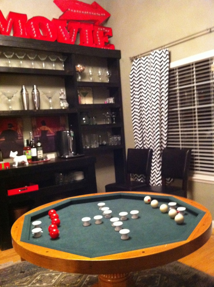 DIY Bar and game room with bumper pool table.