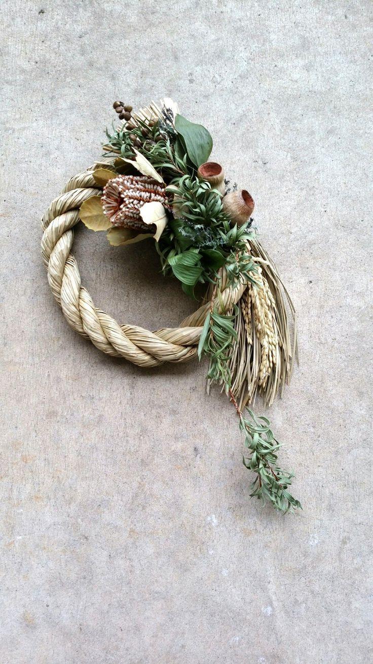 バンクシアとハゼの実のしめ縄飾り