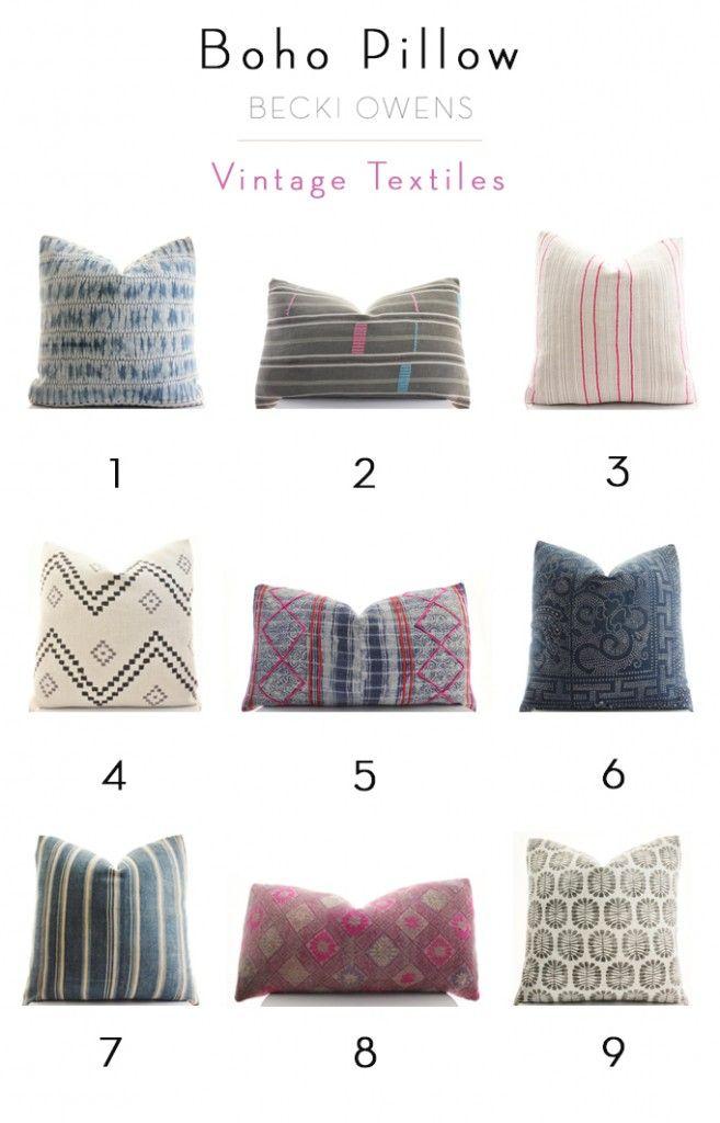Boho Pillow - Vintage Textiles