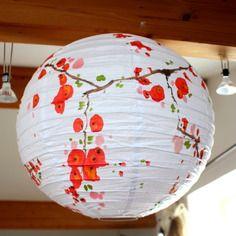 branche fleurs de cerisier suspension luminaire boule papier encre - Luminaire Boules Colores