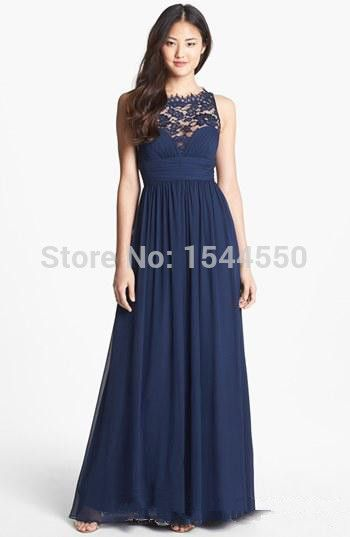 2015 Women dress Navy Blue Chiffon Long Lace Floor Length Waist Jewel Neck Sheer Zipper Back Honor Bridesmaid Dresses Plus size-in Bridesmaid Dresses from Weddings & Events on Aliexpress.com | Alibaba Group