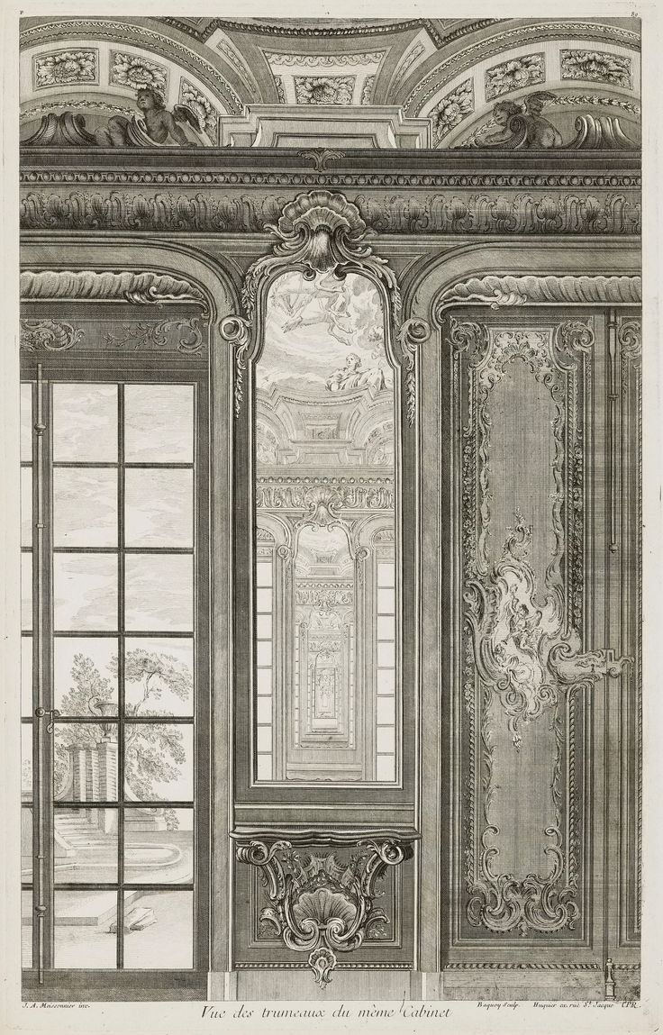 Trumeau of the study in the Bieliński Palace in Warsaw by Pierre Chenu after Juste Aurèle Meissonnier, ca. 1742-1748 (PD-art/old), Cooper Hewitt, Smithsonian Design Museum, Meissonnier created the interior with painted panels representing Zephyr and Flora and Venus and Adonis, pier-glasses and a painted ceiling decorated with the chariot of the Sun, Muses and groups of emblematic of the Arts and Sciences in 1734 for Franciszek Bieliński