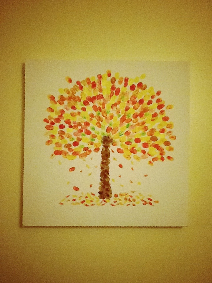 Autumn tree finger-painting