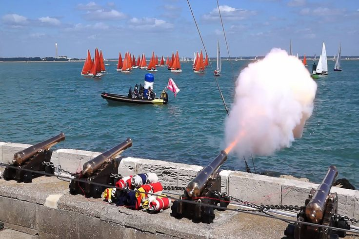 "From Facebook page Isle of Wight News from On The Wight. ""We love this shot shared with us by Christian Beasley. Taken during Cowes Week regatta of the canon firing at the start of the Squib fleet."""