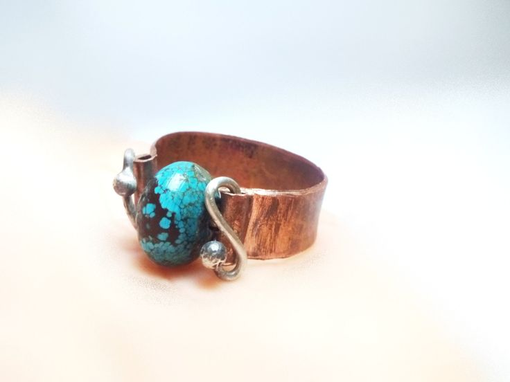 Hammered Turquoise Copper Band Ring 925 Silver Wire Band Ring Silver and Copper Ring Statement Copper and Silver Ring Gemstone Copper Ring by mssdelilah on Etsy