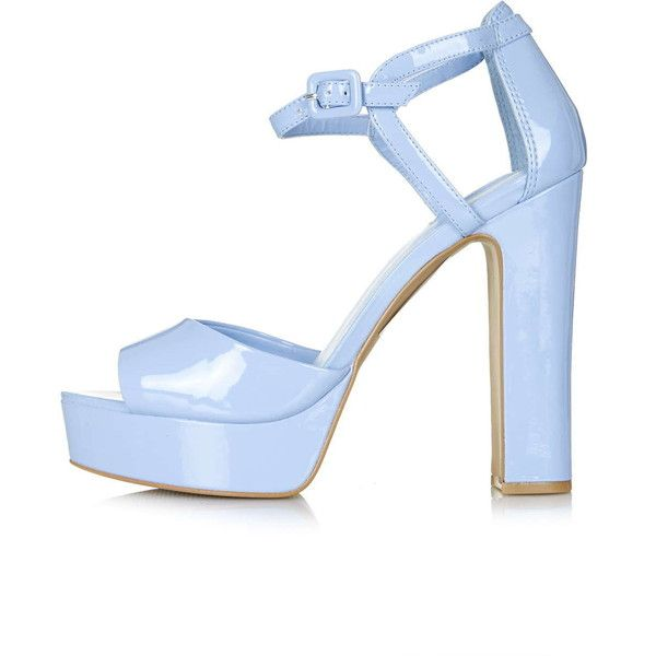 TOPSHOP LENA2 Patent Platform Sandals (68 AUD) ❤ liked on Polyvore featuring shoes, sandals, heels, blue, topshop shoes, patent leather shoes, ankle strap shoes, blue heeled shoes and platform heel sandals