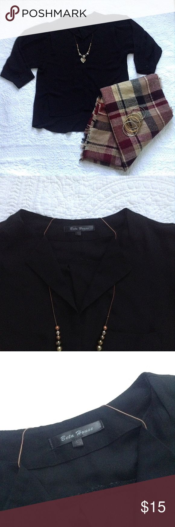🎉Beta House🎉 High-Low Black Tunic Beautiful black tunic with a high low style. Transparent material. Beta House Tops Tunics