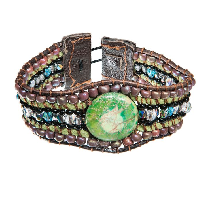 Brown leather bracelet with green sea sediment jasper and beads