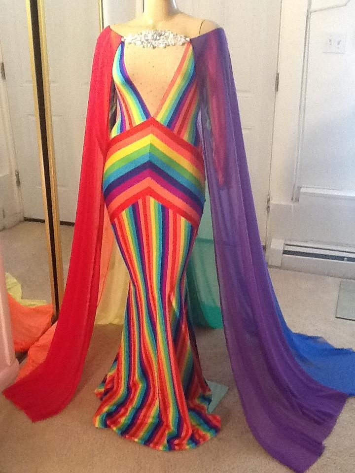 Custom RAINBOW fringe Drag dance GAY PRIDE GOWN Dress