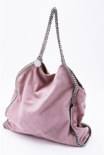 stella mccartney dusty pink falabella faux suede chain
