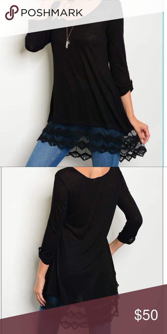 🆕 Jena Black Lace Tunic A pop of color and a touch of femininity is all you need to make your wardrobe stand out. Beautifully designed, this 3/4 length buttoned sleeve laced tunic has both of these qualities making it a great addition to your fashion collection. In no time at all, this tunic will quickly become one of your favorite pieces in your wardrobe because it is so versatile.  Material is 💯% Rayon. Tops Tunics
