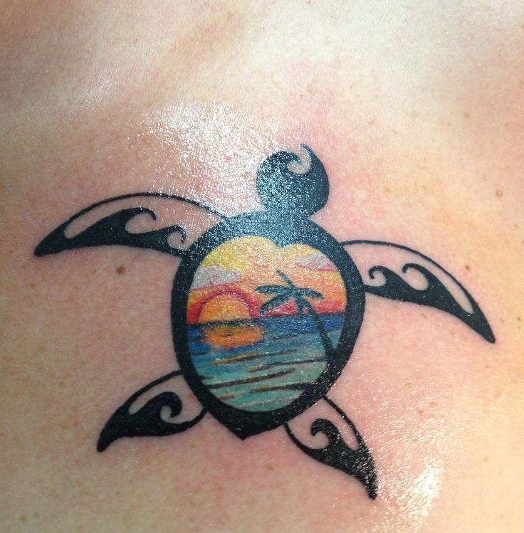 Image Result For Turtle Tattoo Color Ideas Sunset Tattoos Turtle Tattoo Summer Tattoo