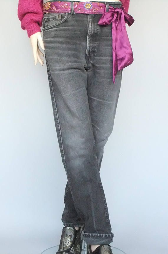 vintage levis black jeans made in the USA red tab 505 grunge