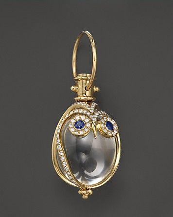 Temple St. Clair 18K Owl Pendant with Blue Sapphire & Diamond Pavé   Bloomingdale's