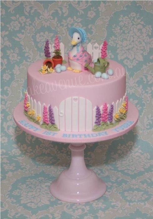Inspired by my original Peter Rabbit Cake, this cake has been redesigned for a little girl's first birthday. Features Jemima Puddle-Duck with her eggs hidden amongst the garden. All decorations are hand crafted from fondant. I am a huge fan of...