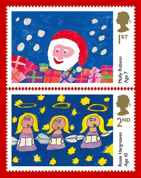Christmas Stamps 2013 designed by Molly Robson (top) and Rosie Hargreaves (bottom).
