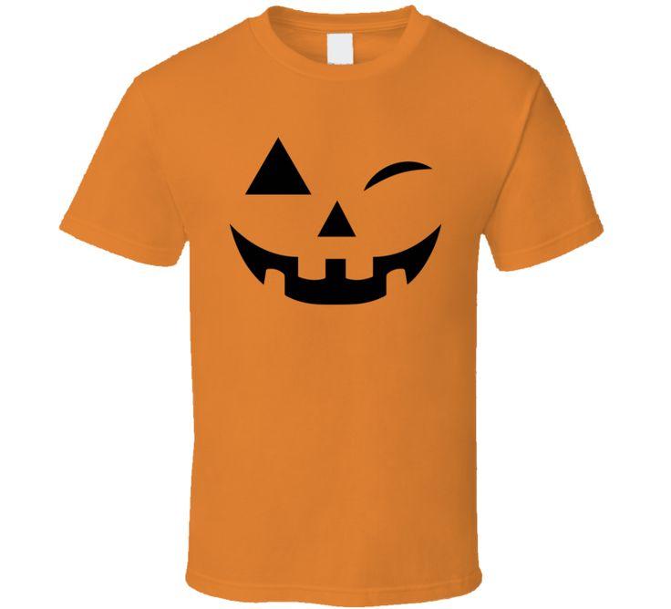 Winking Wink Face Pumpkin Funny Halloween Costume T Shirt