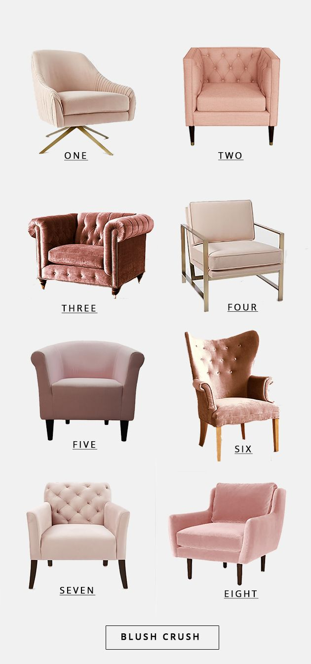 I've got a big crush on blush. Especially in the form of tufted chairs. It's a total trend in the design world right now…