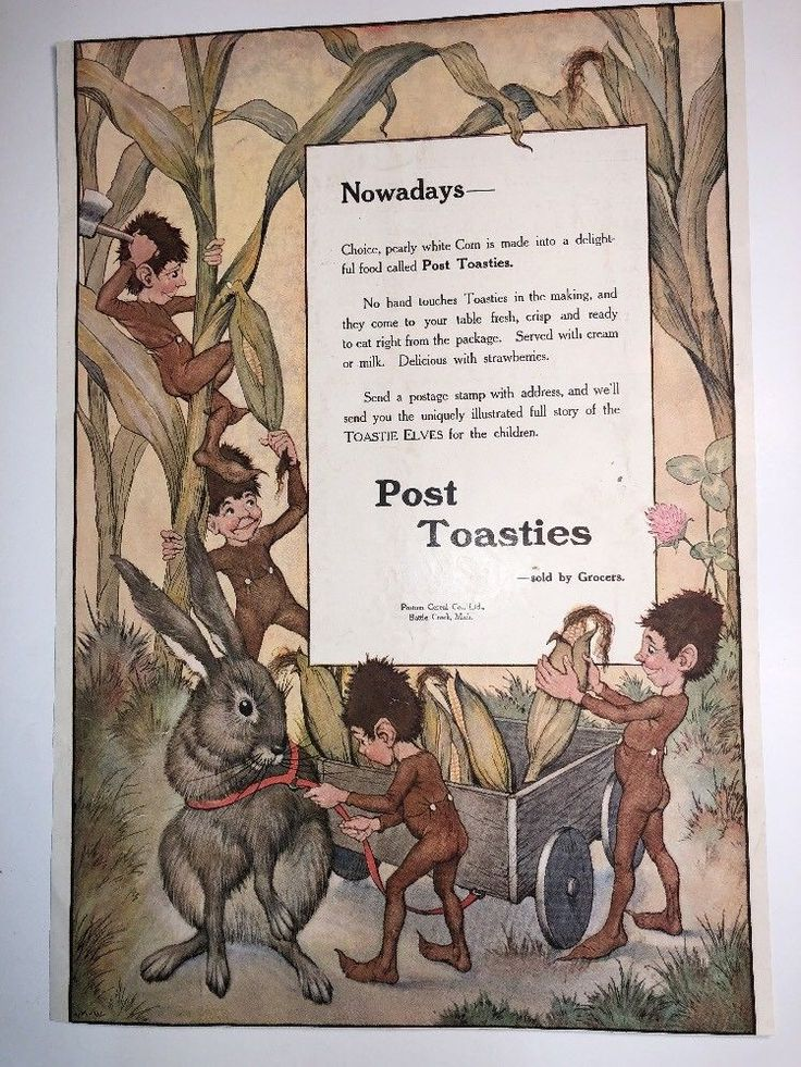 1914 Post Toasties ad with 4 elves Cereal food Old +  original Great Art !