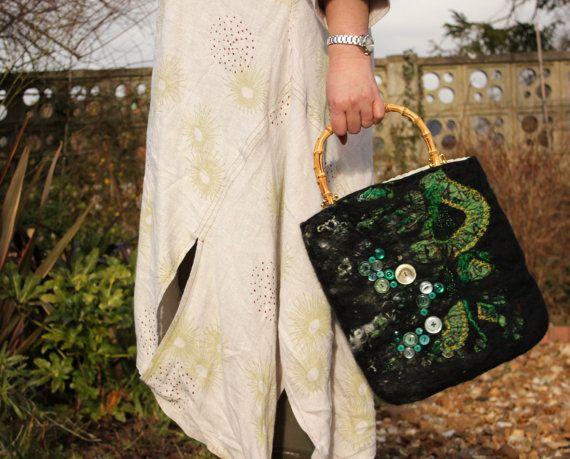 Hand felted bag   Black and emerald green nuno felted wool