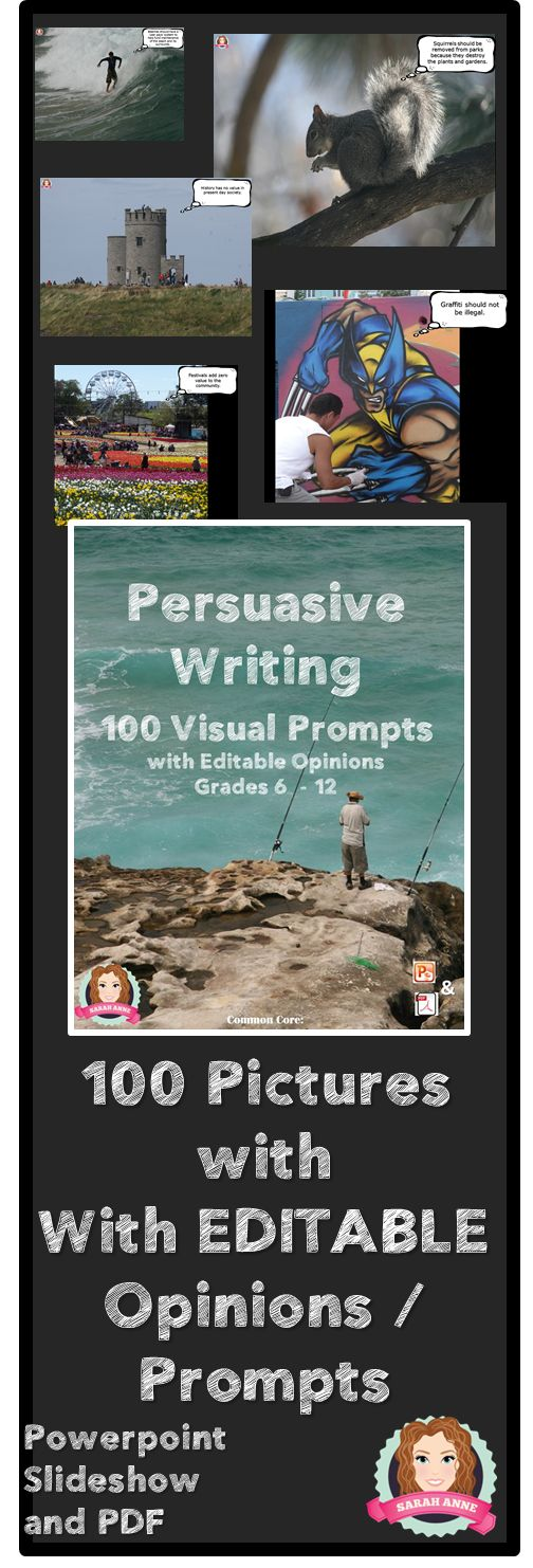 100 Visual Writing Prompts with Editable Opinions to inspire students in their persuasive / opinion writing