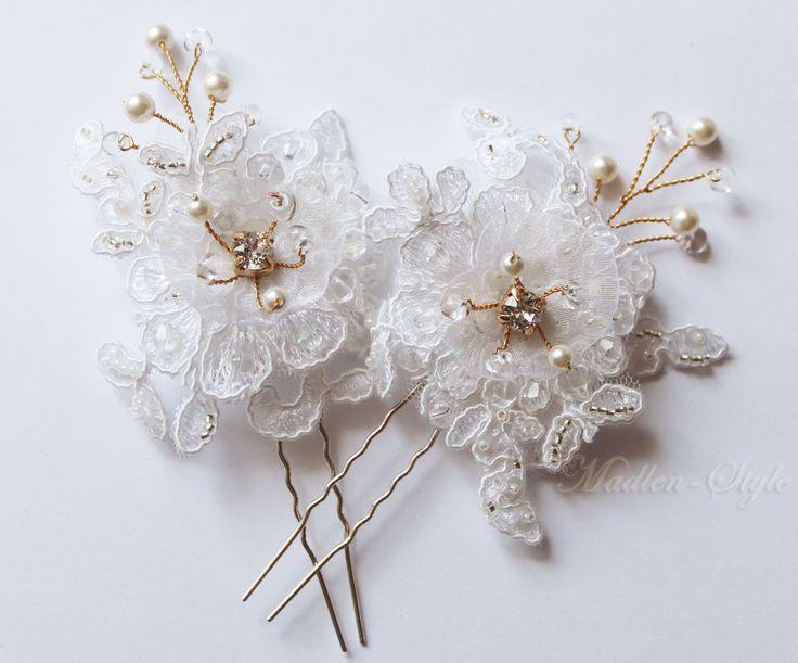 """Купить Свадебные шпильки """"Зефир"""" - белый, шпильки для прически, свадебные шпильки, декоративные шпильки"""