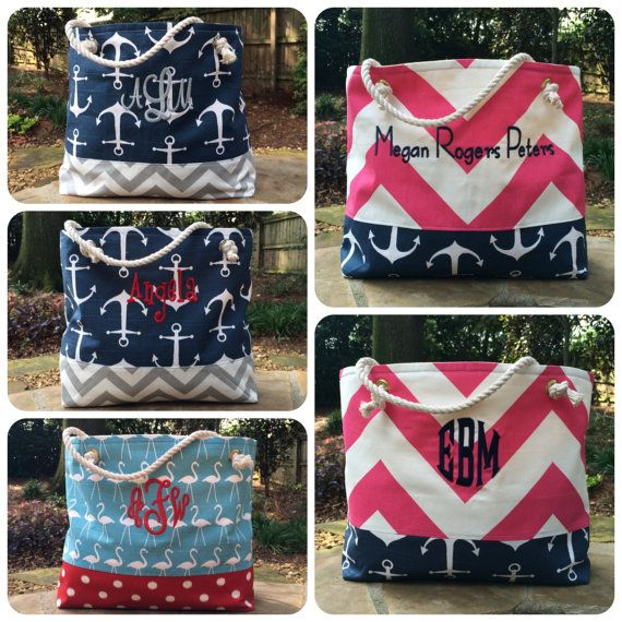 Anchor Beach Bag Large Tote Chevron Tote by JerseyPeachDesigns