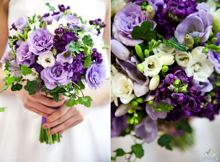 Beautiful lawender bridal bouquet made of lisianthus, fresia, gillyflowers and some ivy