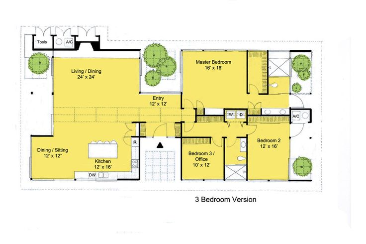 Modern Style House Plan - 3 Beds 2 Baths 2360 Sq/Ft Plan #544-3 Floor Plan - Main Floor Plan - Houseplans.com