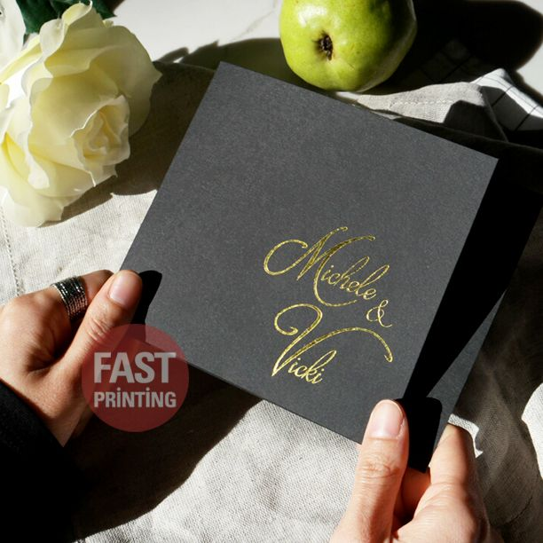 Gold Foil Finish On 350gsm (16pt) Extra Black #goldfoil #customcard #fastprinting #FP