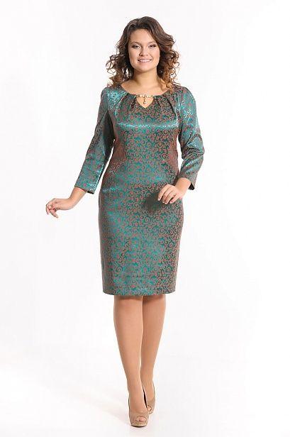 Платье МЕРЛ-9650 жаккард малахит в интернет-магазине женской одежды LUCIA-SHOP.Ru.
