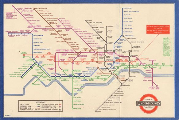 First diagrmatic tube map, 1932
